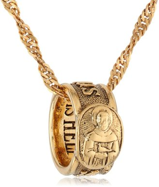 """LIBRARY The Vatican Collection """"Vatican Carded Ring Pendant Necklaces"""" Gold-Tone """"Salvation"""" Ring Pendant Necklace 16"""""""