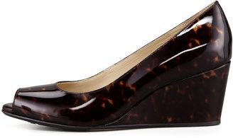 Taryn Rose Patent Tortoise Peep-Toe Wedge, Brown
