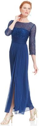 Patra Three-Quarter-Sleeve Glitter Lace Gown