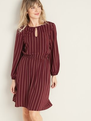 Old Navy Waist-Defined Striped Keyhole Dress for Women
