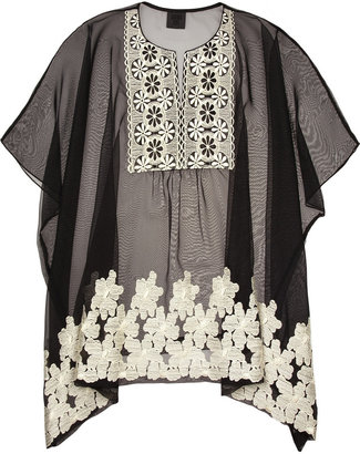 Anna Sui Embroidered chiffon top