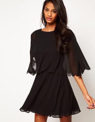 Asos Chiffon Dress With Scalloped Edge