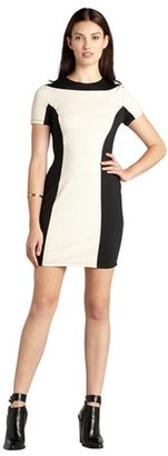 Hayden black and sand colorblocked short sleeve back zip dress
