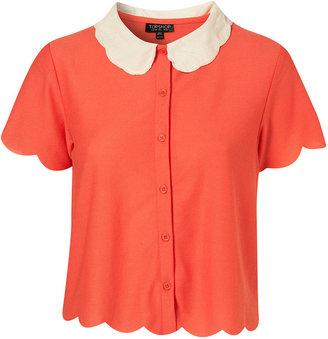 Topshop Coral Scallop Crop Shirt