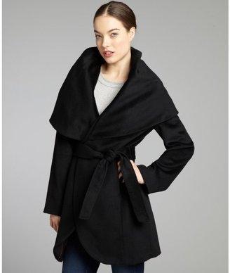 Elie Tahari black wool blend woven belted 'Marla' coat