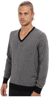 Ben Sherman Geometric Jacquard V-Neck Sweater