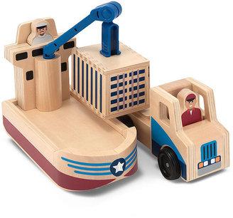 Melissa & Doug Kids Toys, Whittle World - Cargo Ship & Truck Set