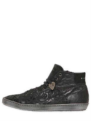 John Richmond Stone Washed Cracked Leather Sneakers