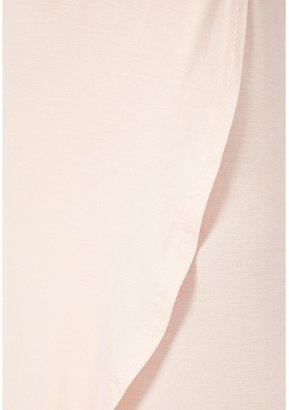 Missguided Brodie Plunge Wrap Midi Dress In Nude