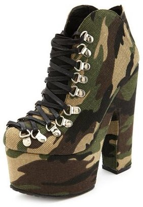 Charlotte Russe Lace-Up Thick Heel Platform Bootie