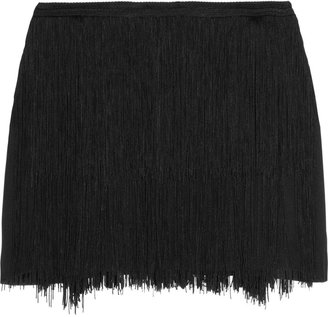 Theory Tialla fringed stretch-silk skirt