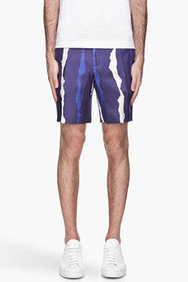 Neil Barrett Blue silk Slim-Fit Bleached Stripe Shorts