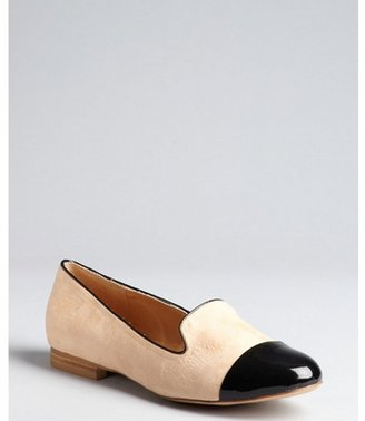 Kelsi Dagger blush suede and black patent leather leather 'Freud' slip-on loafers