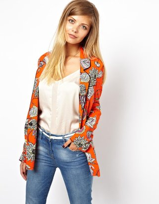 Asos Double Breasted Blazer in Bold Floral Print - Orange