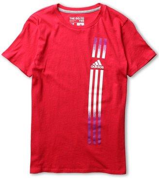 adidas Kids - Phantom Stripes Tee (Little Kids/Big Kids) (Blaze Pink/White) - Apparel