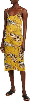 Loyd/Ford Reversible Animal & Chain Print Midi Slip Dress