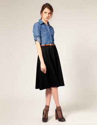 Asos Ponti Midi Skirt With Belt