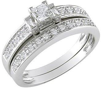 Diamond 10K White Gold Bridal Set Silver