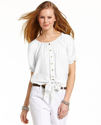 Amy Byer BCX Juniors Top, Short Sleeve Button-Down Tie-Front