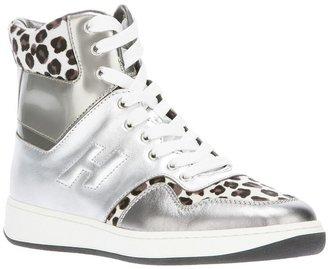 Hogan contrast leopard print sneaker