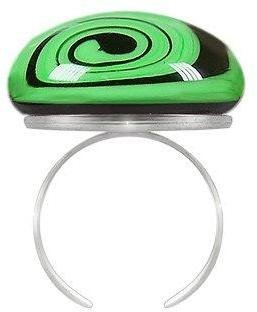 Akuamarina Swirling Murano Glass & Sterling Silver Open Ring