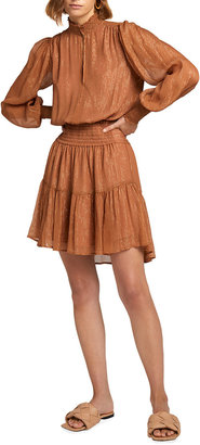 A.L.C. Silvie Smocked Metallic Tiered Dress