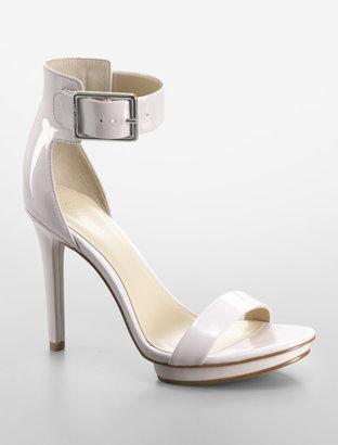 Calvin Klein Medium Pink Vivian Patent Leather Logo Strap Platform Sandal