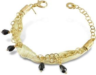 Daco Milano Onyx Drops Multi-strand Sterling Silver Lace Bracelet