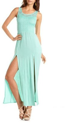 Charlotte Russe Crochet Top Double Slit Maxi Dress