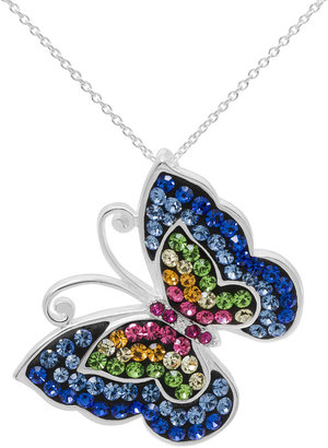 FINE JEWELRY Multicolor Crystal Sterling Silver Butterfly Pendant Necklace $249.98 thestylecure.com