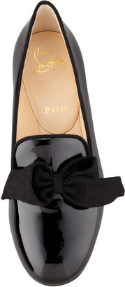Christian Louboutin Gine Patent Leather Bow Slipper, Black