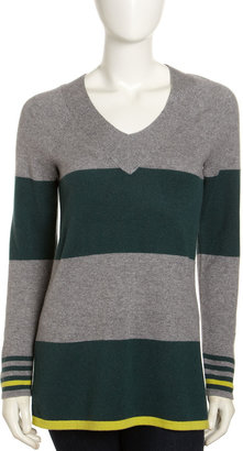 Design History V-Neck Striped Cashmere Sweater