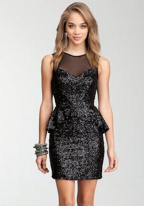 Bebe Peplum Sequin Dress