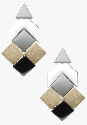 Bebe Mixed Metal Geometric Statement Earrings