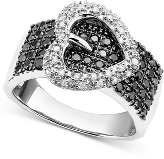 Ring Black Sterling Silver Ring, Black and White Diamond Heart Buckle Ring (3/4 ct. t.w.)