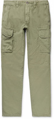Incotex Slim-fit Cotton And Linen-blend Cargo Trousers - Green