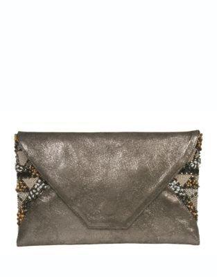 Deepa Gurnani Envelope Clutch with Beaded Panels
