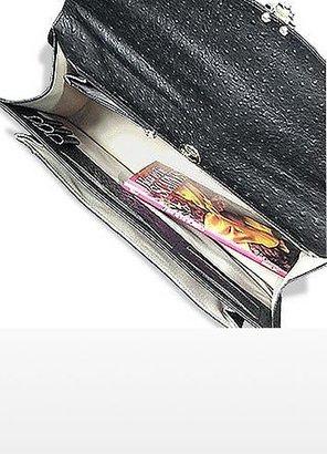 Fontanelli Black Ostrich Stamped Calf Leather Briefcase