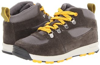 Timberland Kids - GT Scramble Boys Mid Leather and Fabric (Little Kid) (Dark Grey with Yellow) - Footwear