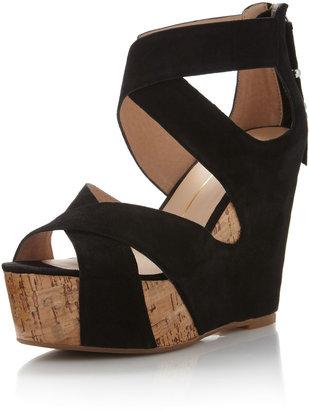 Dolce Vita Jaime Suede Cork Wedge Sandal, Black