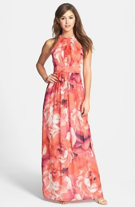 Women's Eliza J Print Chiffon Fit & Flare Maxi Dress $158 thestylecure.com