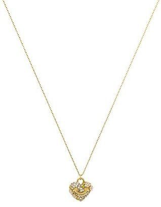 Juicy Couture Pave Heart and Flower Necklace