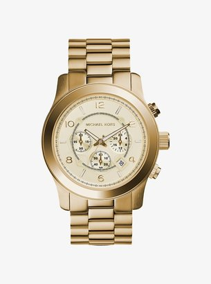 Michael Kors Oversized Runway Gold-Tone Stainless Steel Watch