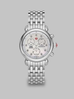 Michele Diamond & Stainless Steel Chronograph Watch