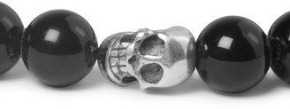 Paul Smith Silver Skull and Glass Bead Bracelet