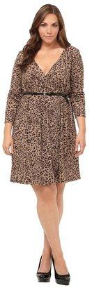 Leopard Faux Wrap Long-Sleeve Dress