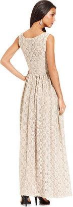 Isaac Mizrahi New York Dress, Sleeveless Lace Scoop-Neck Maxi