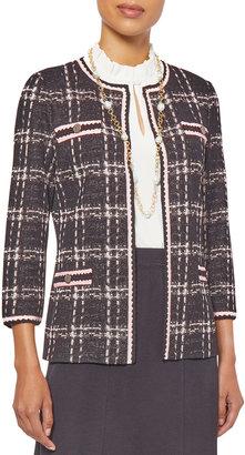 Misook, Plus Size Plus Size Crochet Trim Jacquard Knit Jacket