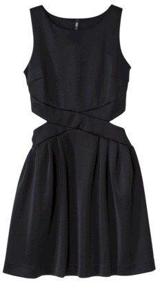 labworks Petites Sleeveless Neoprene Dress - Black/Lime Green