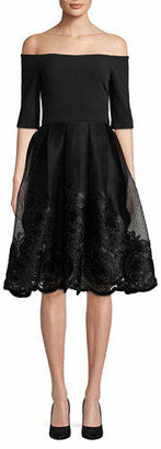 Betsy & Adam Off-The-Shoulder Mesh Overlay Dress
